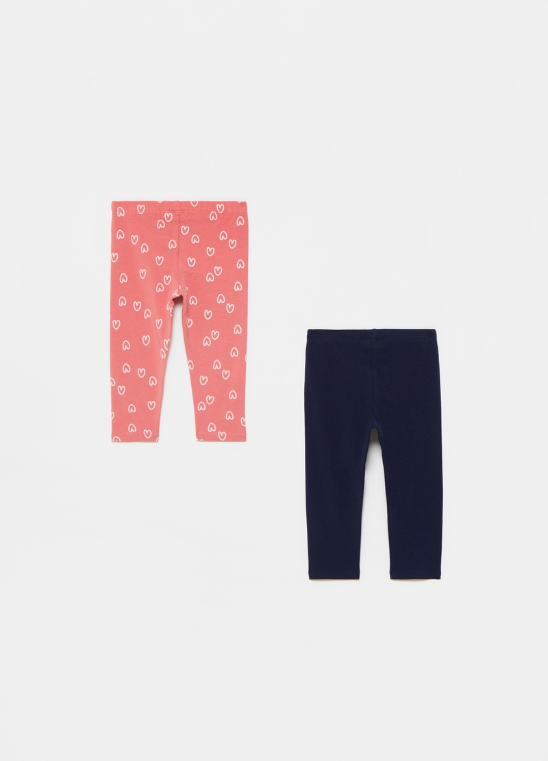 Two-pack leggings with small hearts pattern image number null