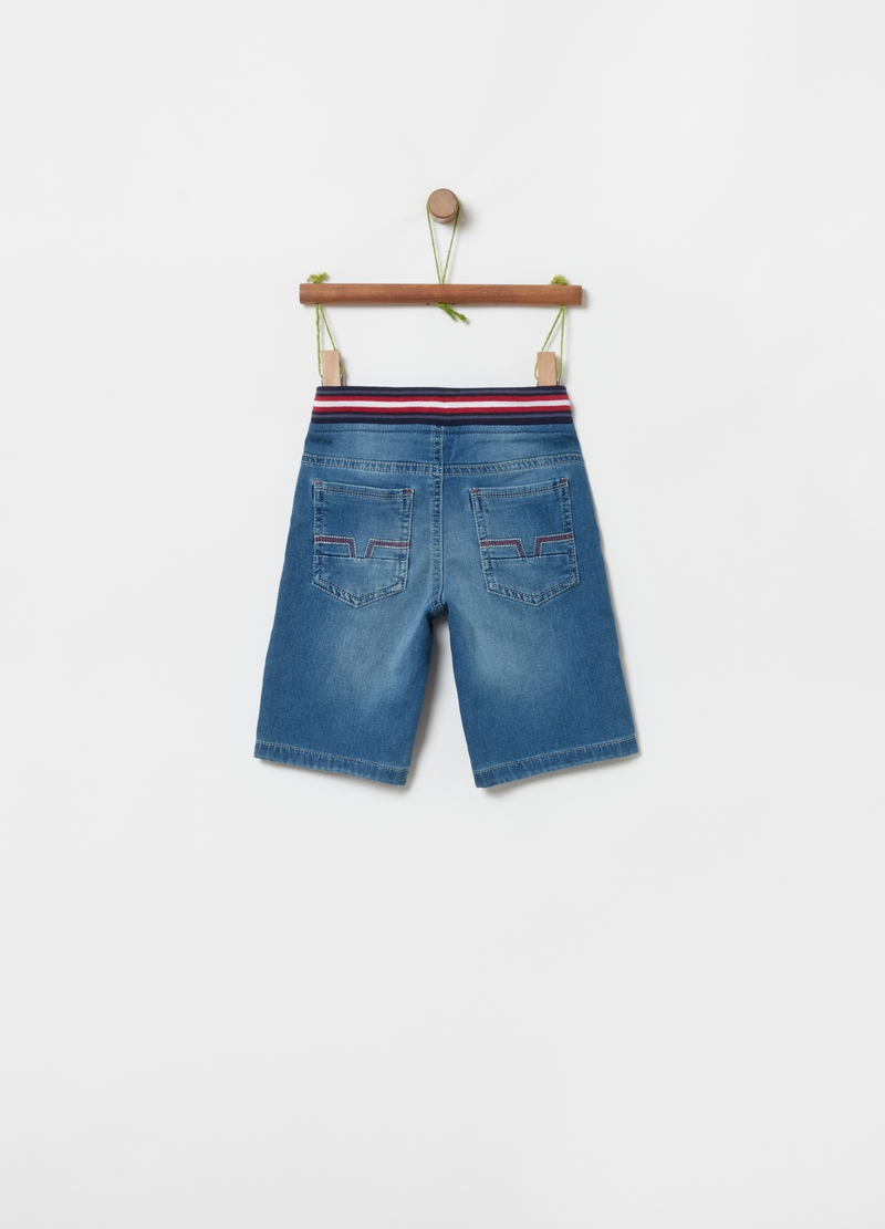 Organic cotton denim shorts with drawstring image number null