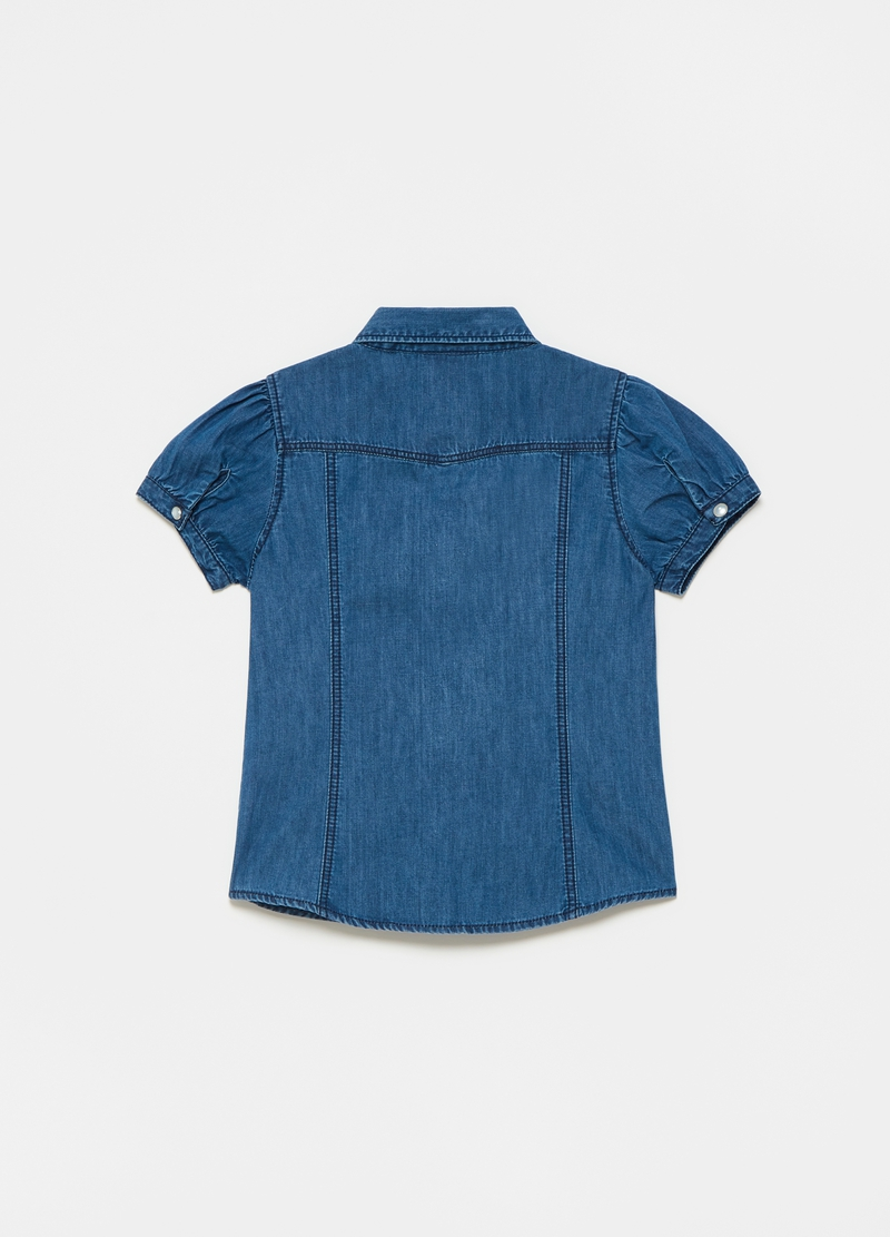 Denim shirt with puff sleeves image number null