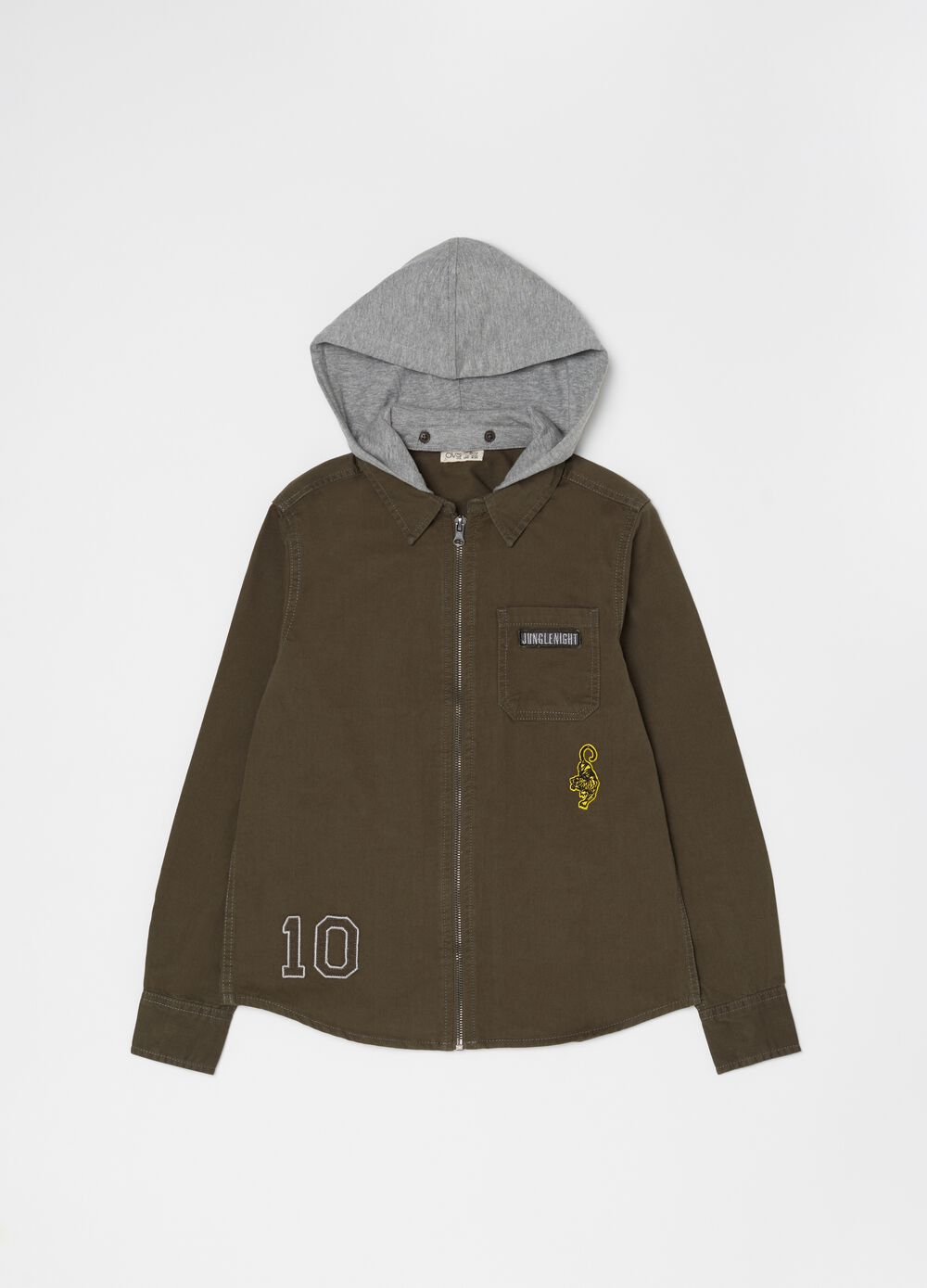 Shirt with hood and zip