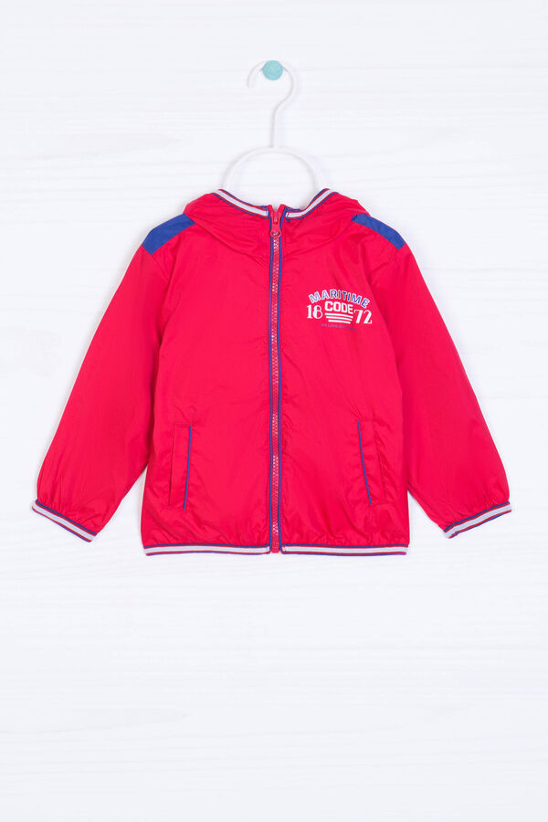 Windbreaker with high neck and print | OVS