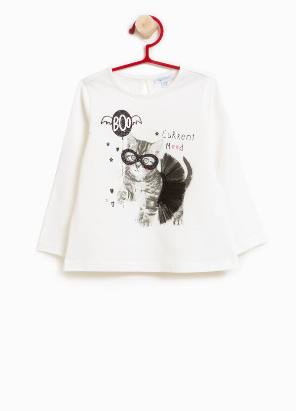 Printed T-shirt in 100% cotton with tulle | OVS