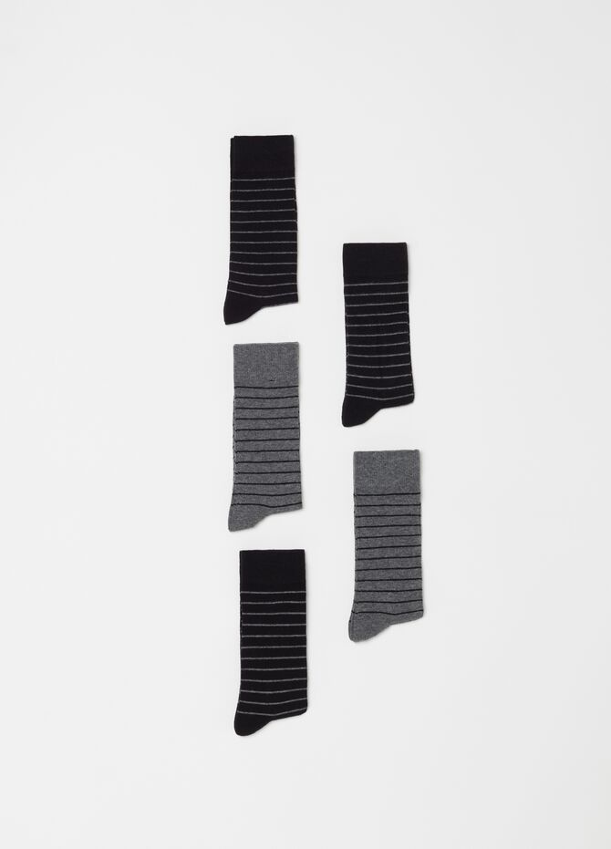 Five-pair pack short socks with striped pattern