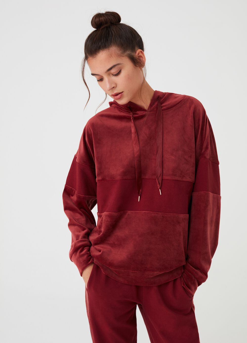 Chenille pyjama sweatshirt with hood