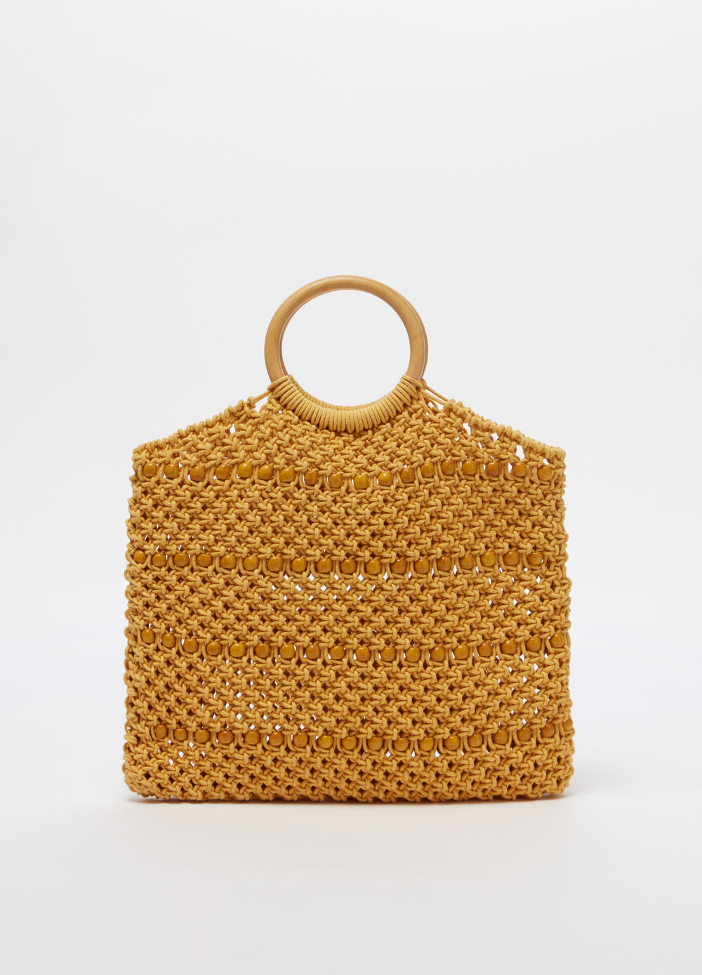 Crochet bag with wooden handle