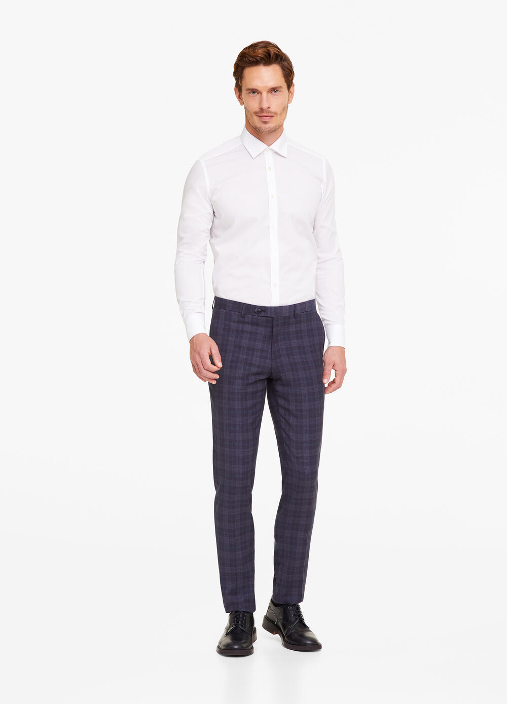 Slim-fit trousers in Prince of Wales fabric