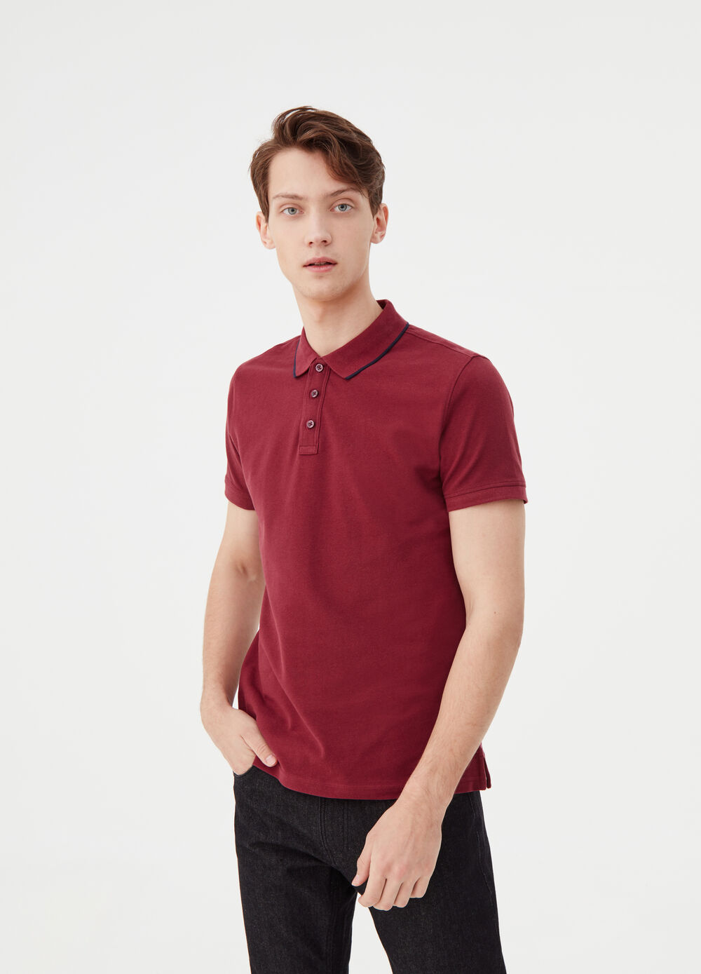 Two-pack polo shirt in cotton piquet and viscose