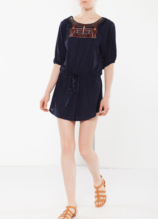 Long T-shirt with drawstring