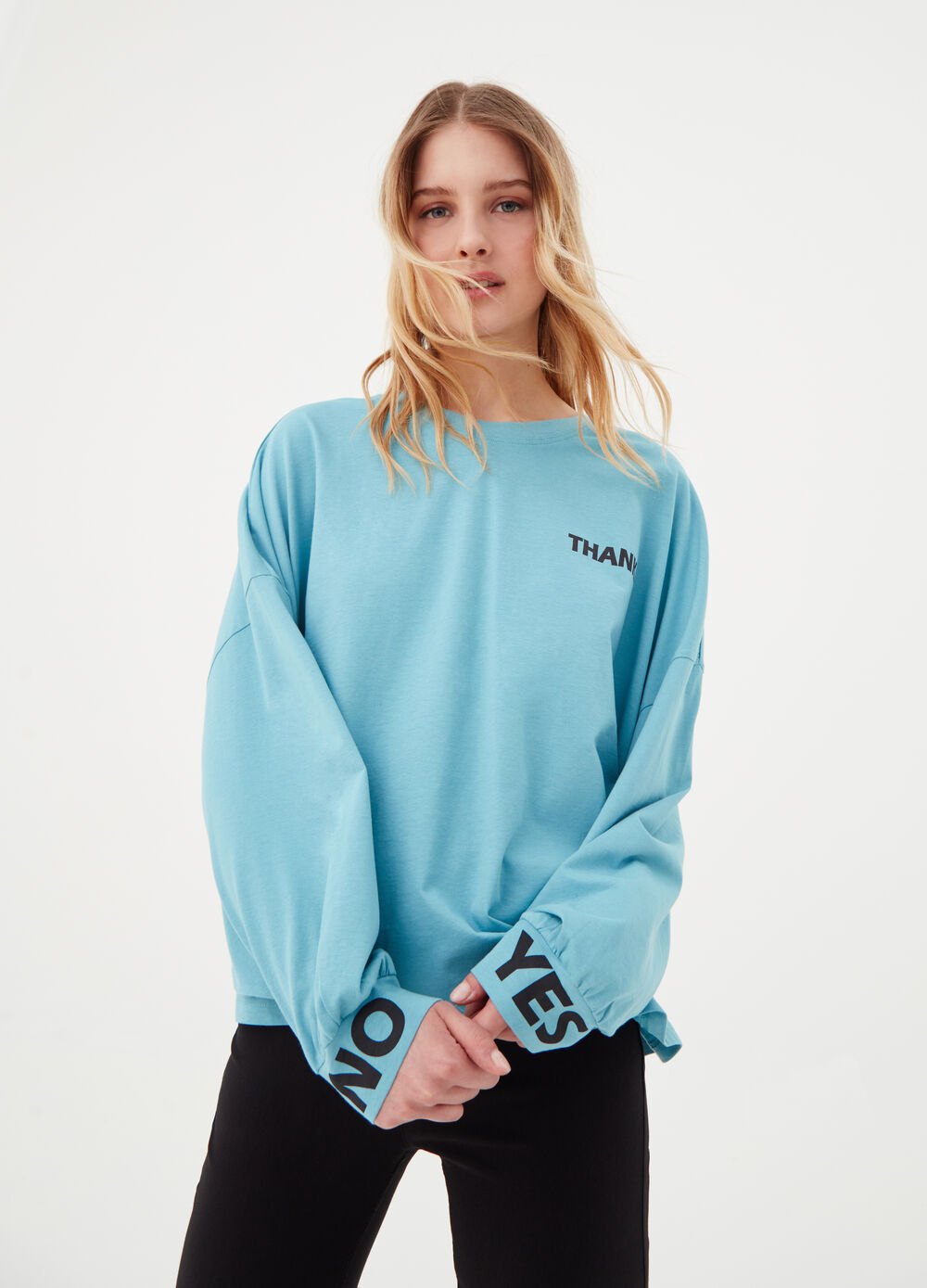 Oversized crop T-shirt in BCI cotton