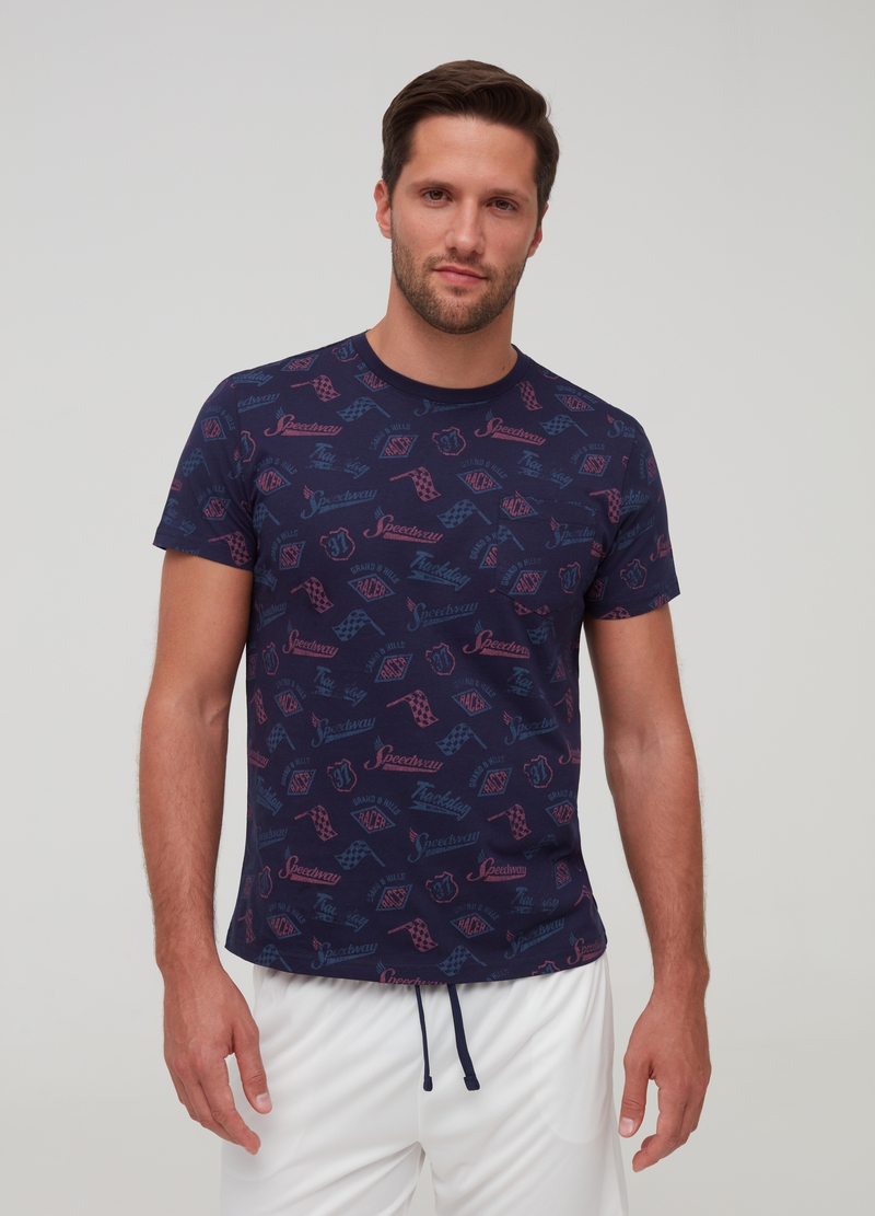 Patterned T-shirt in 100% cotton image number null
