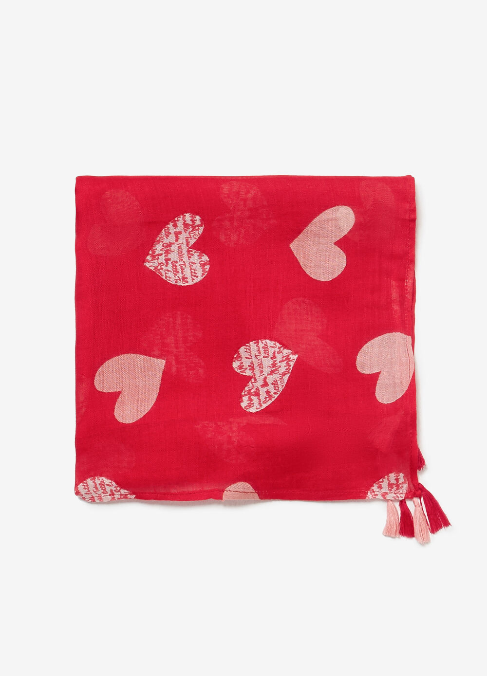 Heart patterned pashmina with tassels