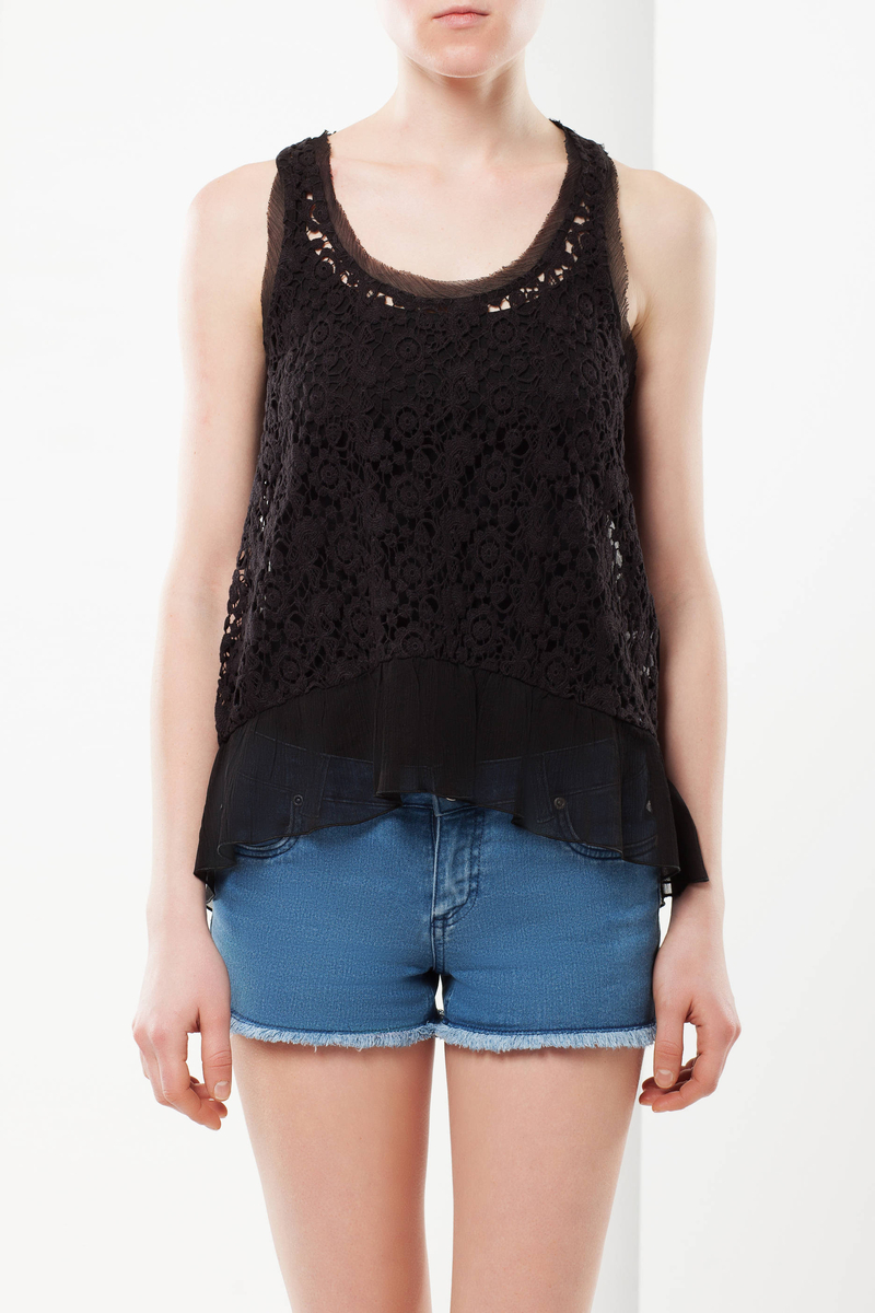 Lace and chiffon top image number null