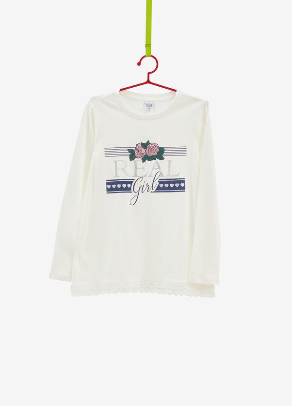 T-shirt puro cotone patch rose stampa