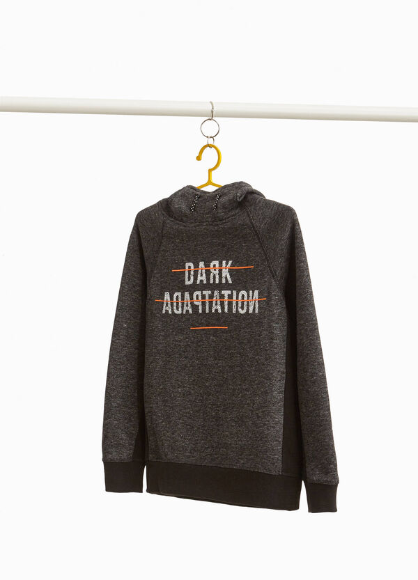 Cotton blend sweatshirt with inserts and lettering