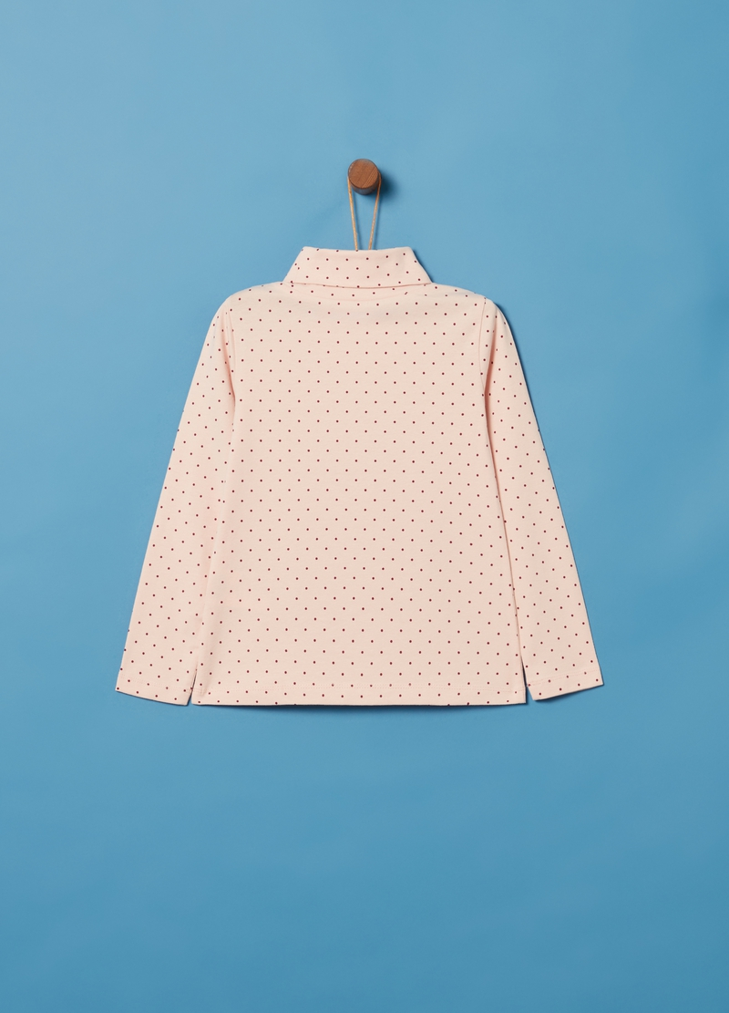 Lupetto cotone stretch stampa a pois image number null