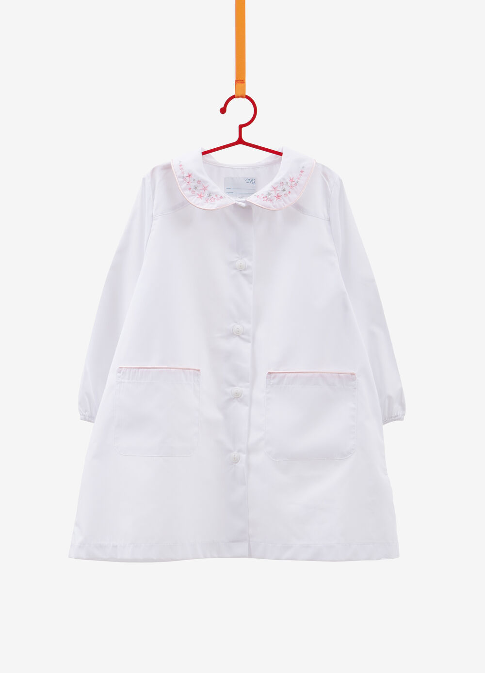 Cotton blend smock with star embroidery