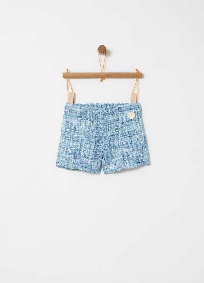 Shorts effetto tweed e bottone decorativo