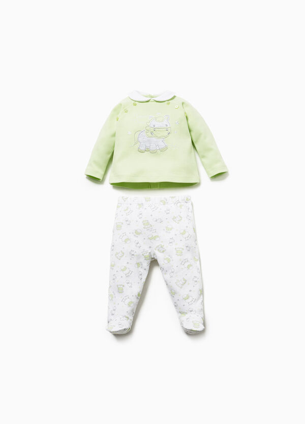 Patterned T-shirt and baby leggings set