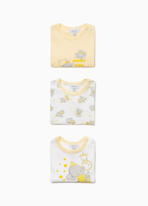 Three-pack elephant bodysuits in 100% cotton