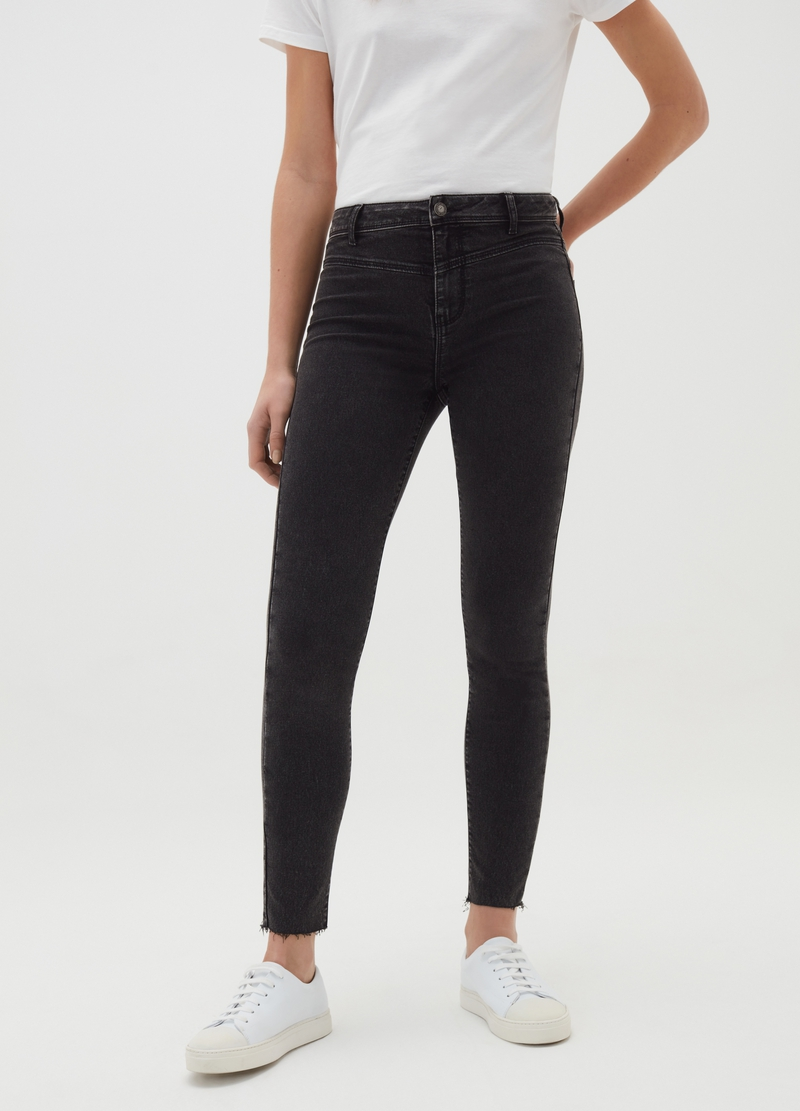 Super-skinny-fit jeans with raw edging image number null