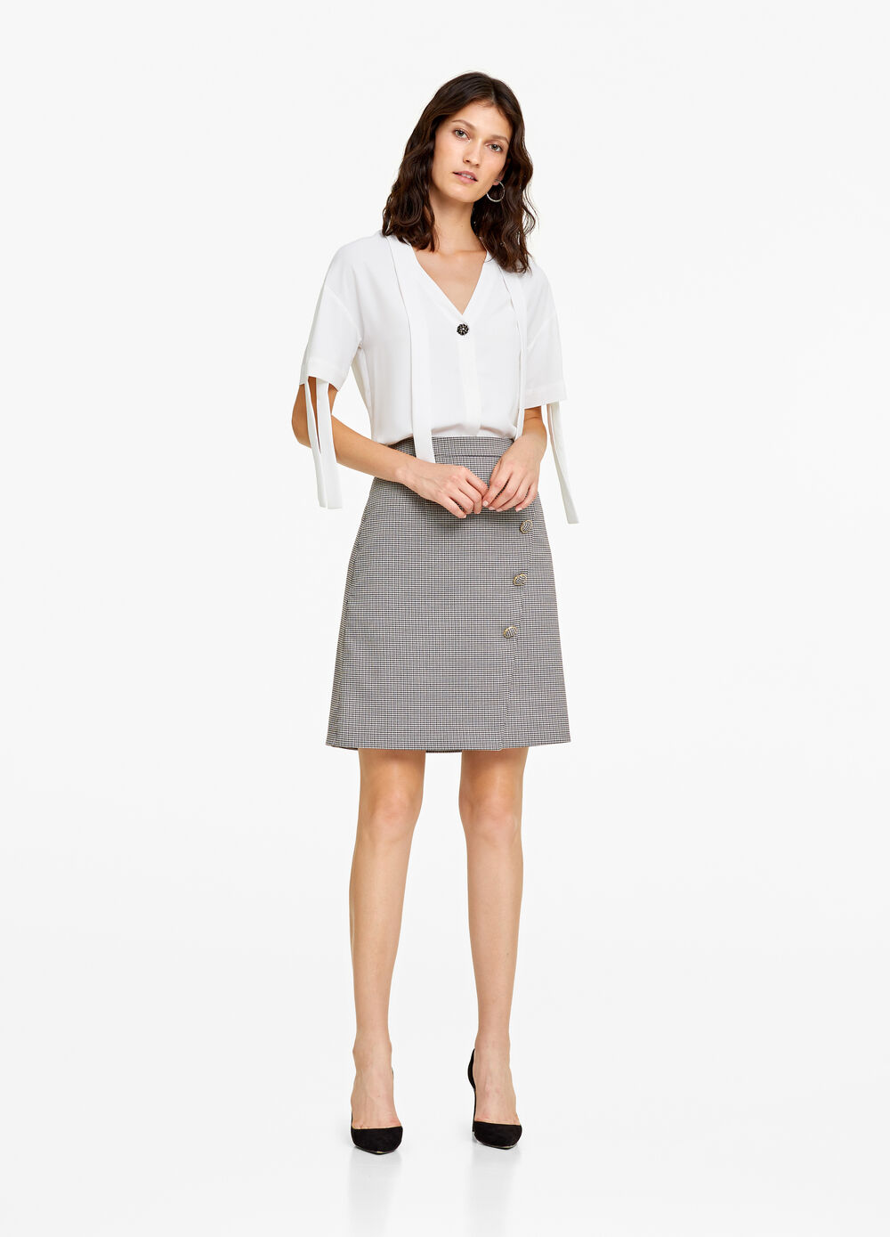 High-waisted skirt with micro-check pattern