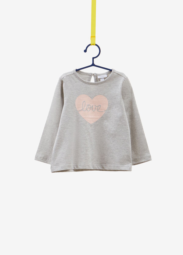 Cotton blend T-shirt with heart print