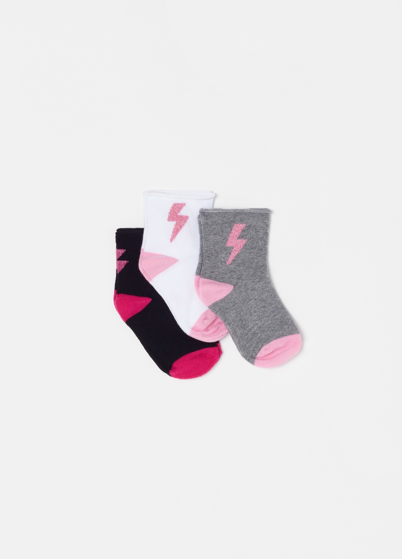 Three-pair pack short stretch cotton socks with lightening image number null