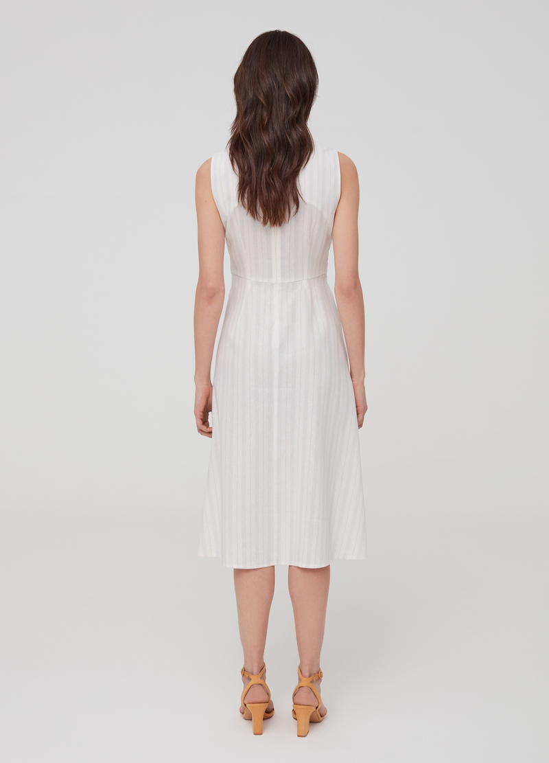Sleeveless dress in linen and viscose image number null