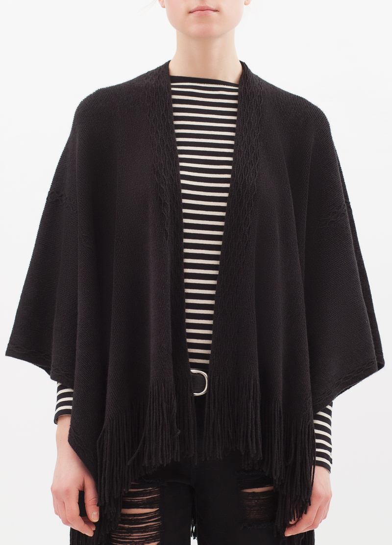 Knitted poncho with fringe image number null