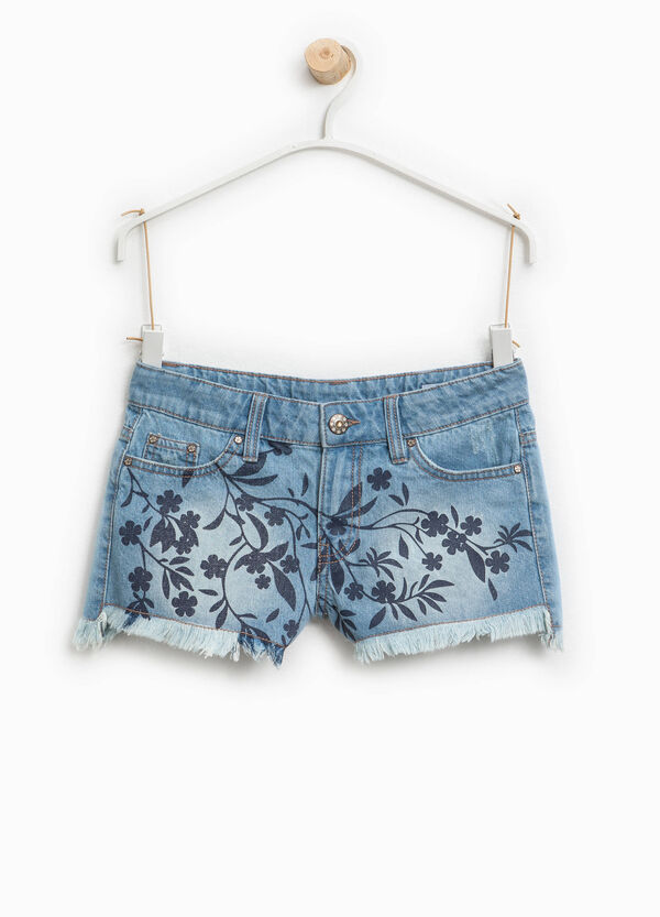Washed-effect denim shorts with print | OVS