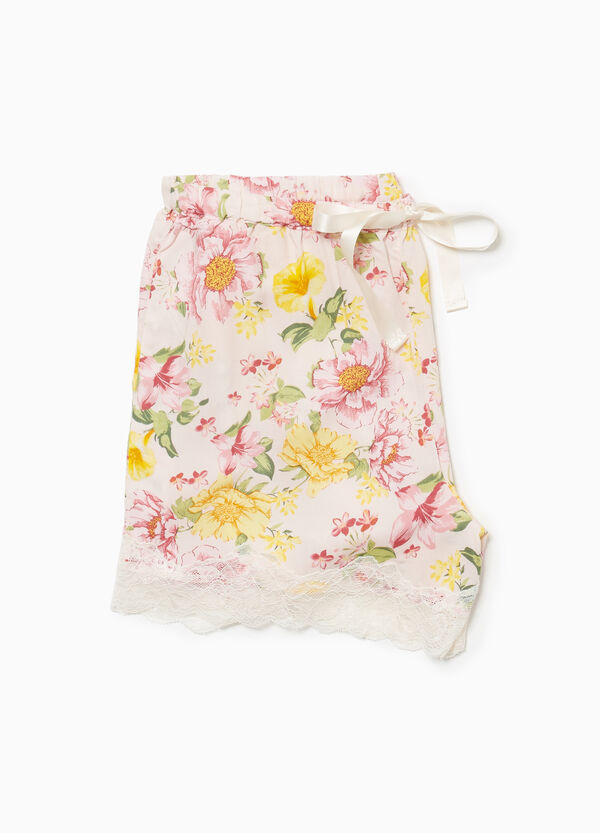 Floral pyjama shorts with lace
