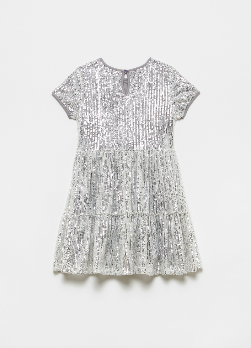 Flounced dress with sequins image number null