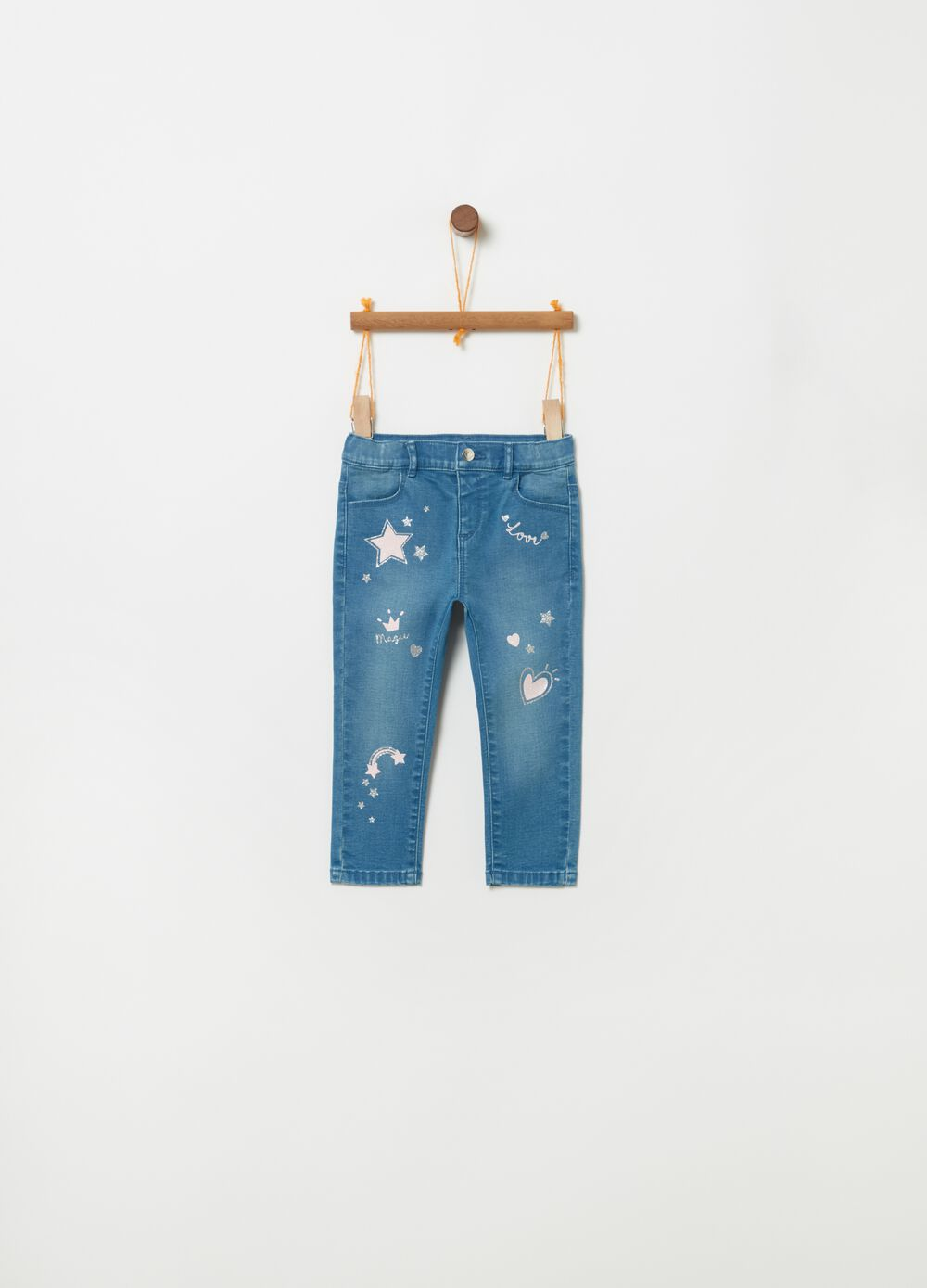 Jeans slim fit stretch stampa glitter