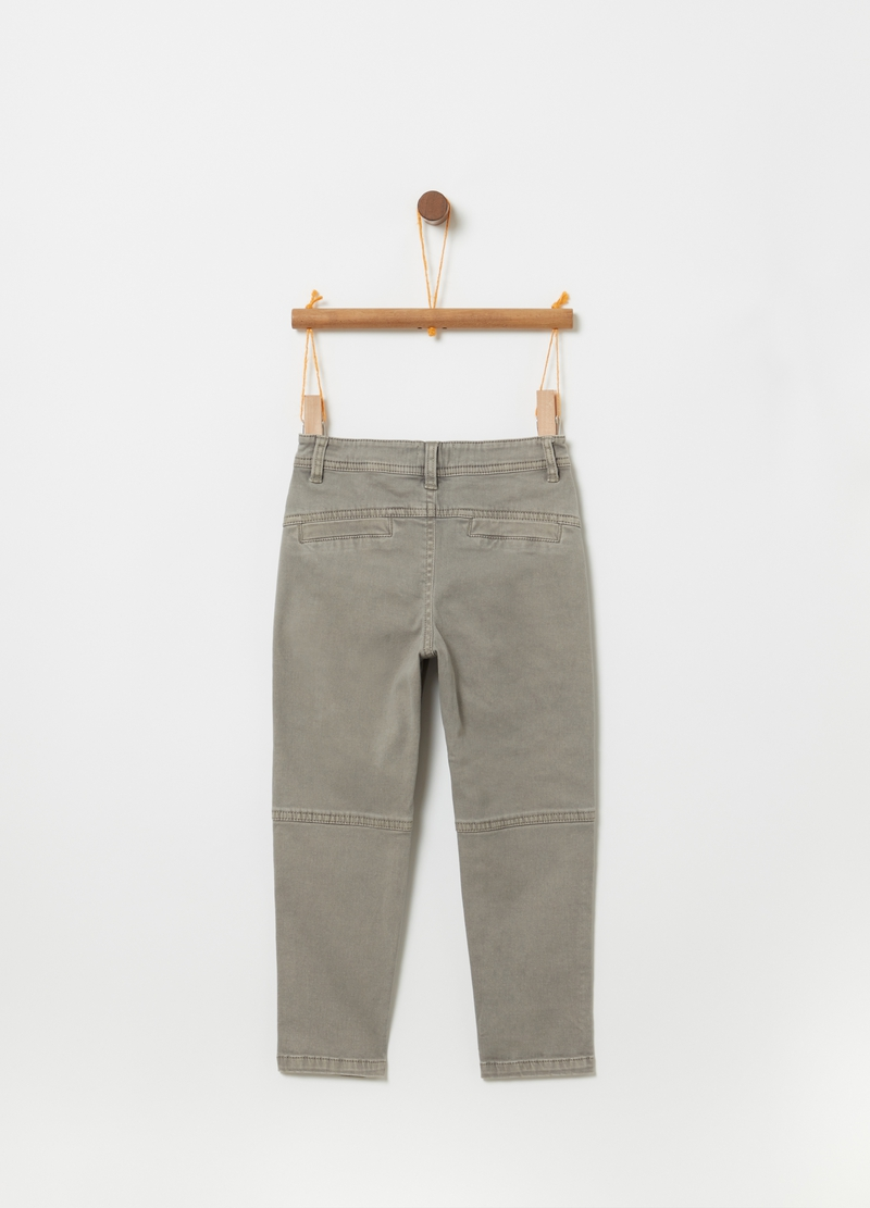 Joggers in cotone stretch con tasche image number null