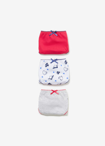 Three-pack cotton solid colour and hearts briefs