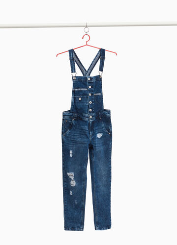 Worn-effect denim dungarees with rips
