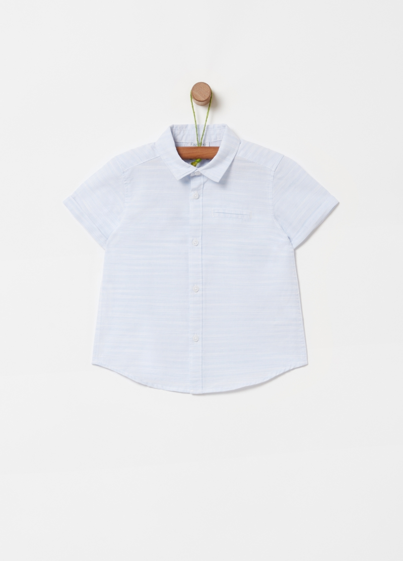 100% organic cotton shirt with stripes image number null