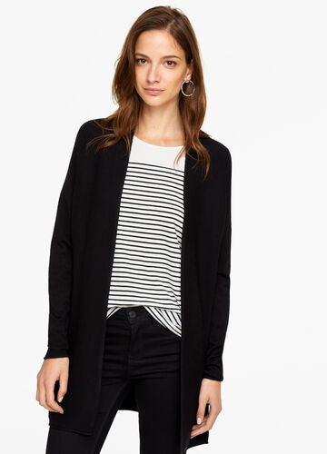 Solid colour cardigan with striped weave