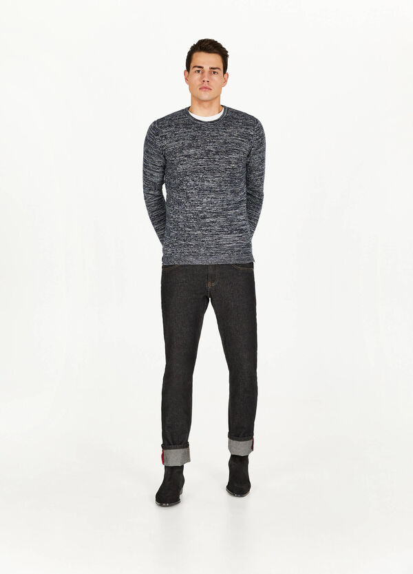 Frayed two-tone cotton blend pullover
