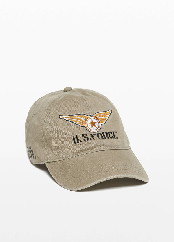 Baseball cap with embroidery and print