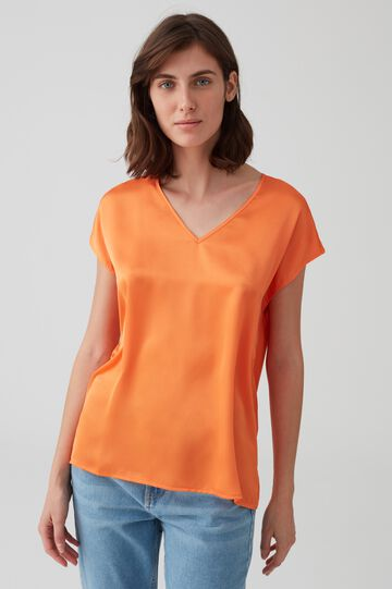 Jersey and satin blouse with V neck