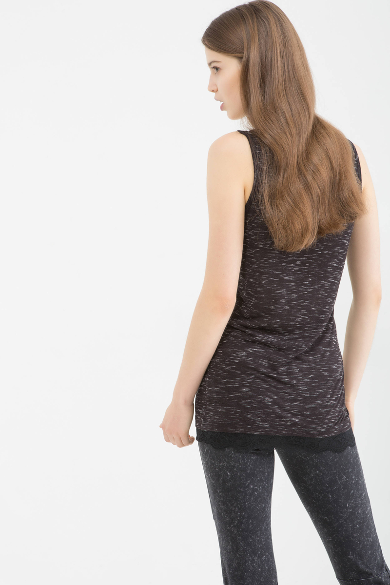 Top in misto lino con pizzo image number null
