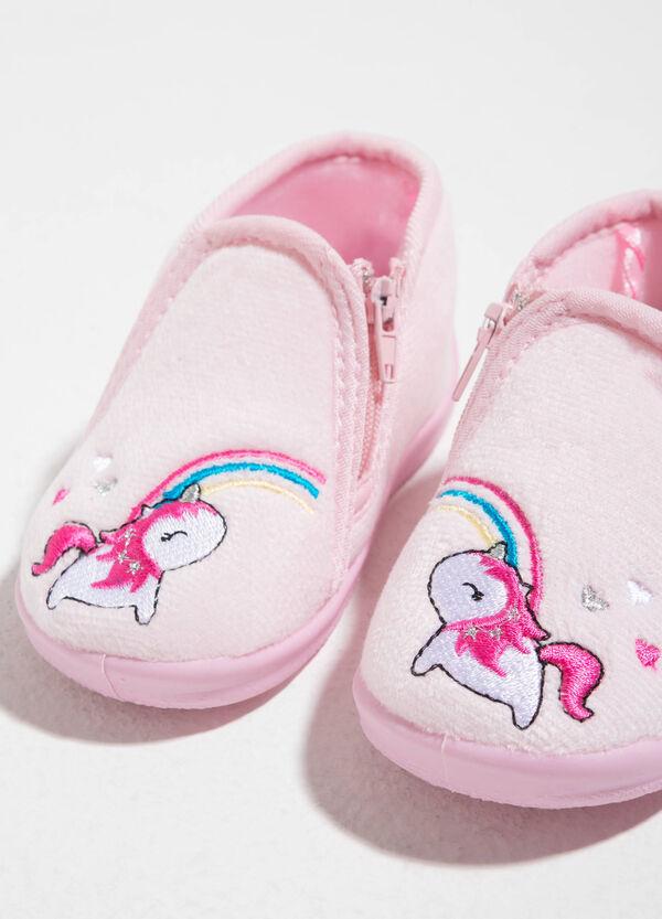 Canvas slippers with unicorn embroidery | OVS