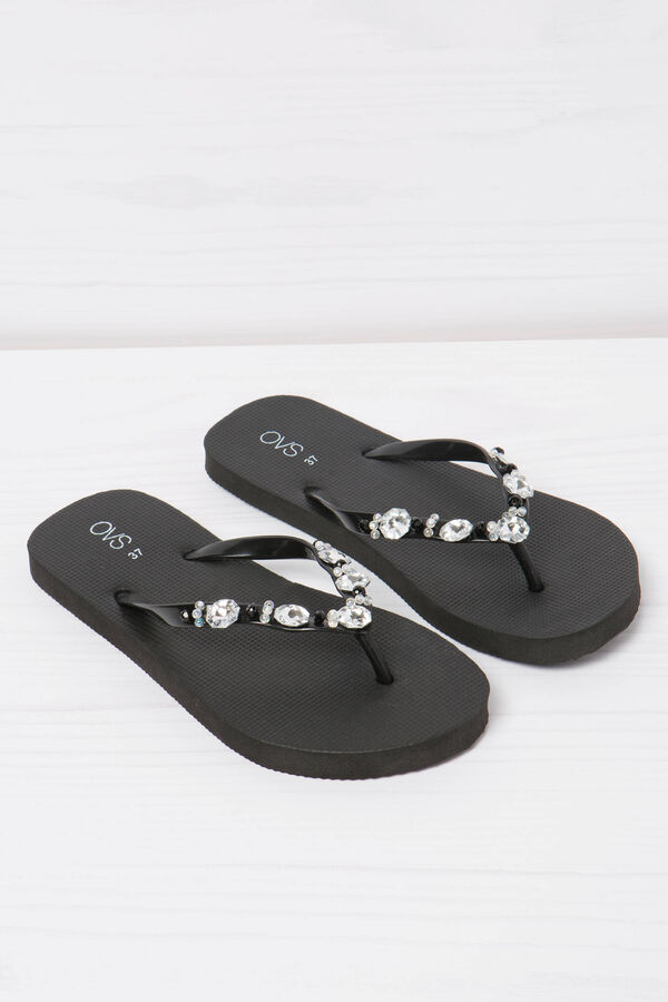 Solid colour thong sandal with diamanté detail | OVS