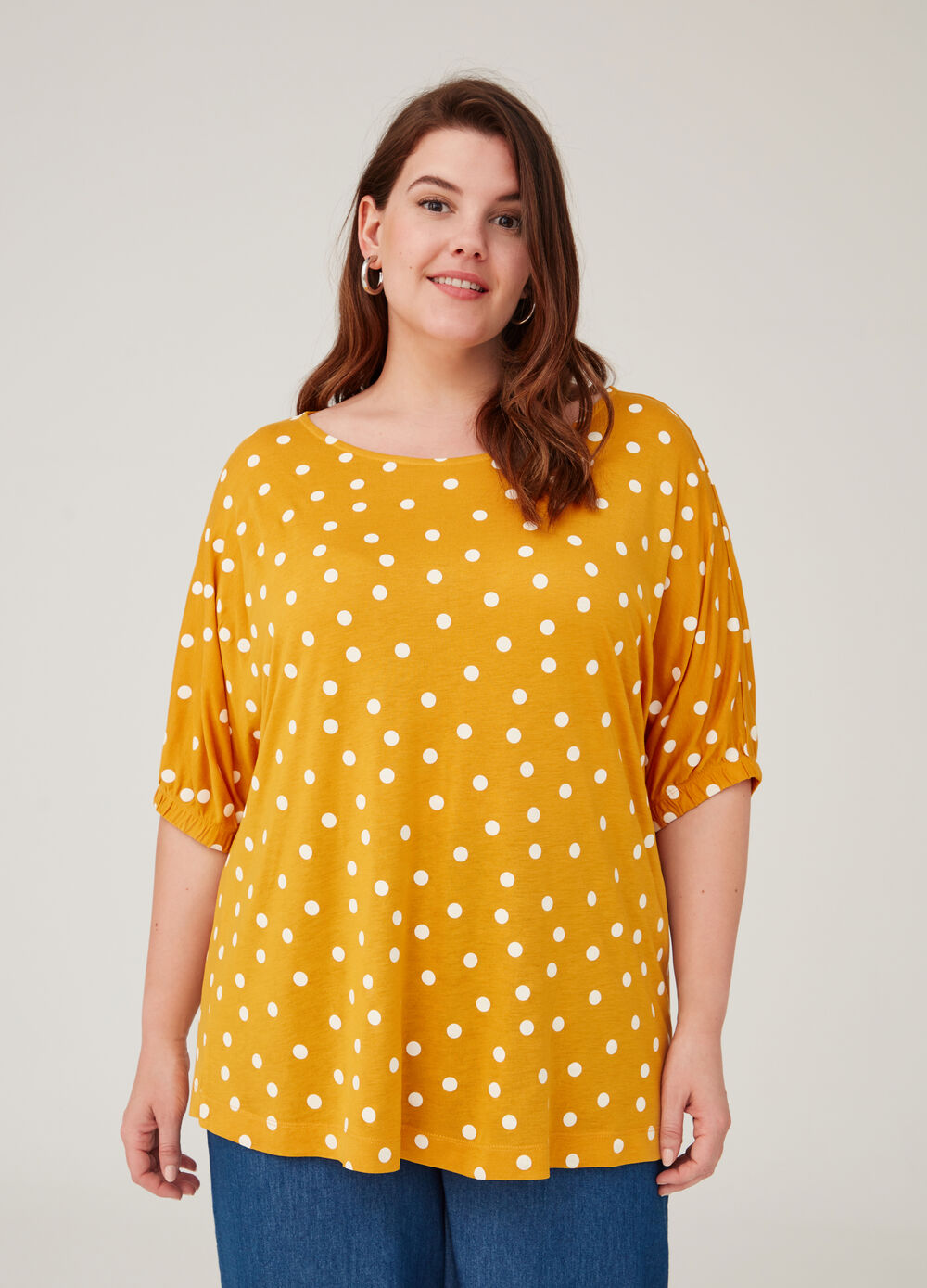 Curvy patterned T-shirt in 100% viscose
