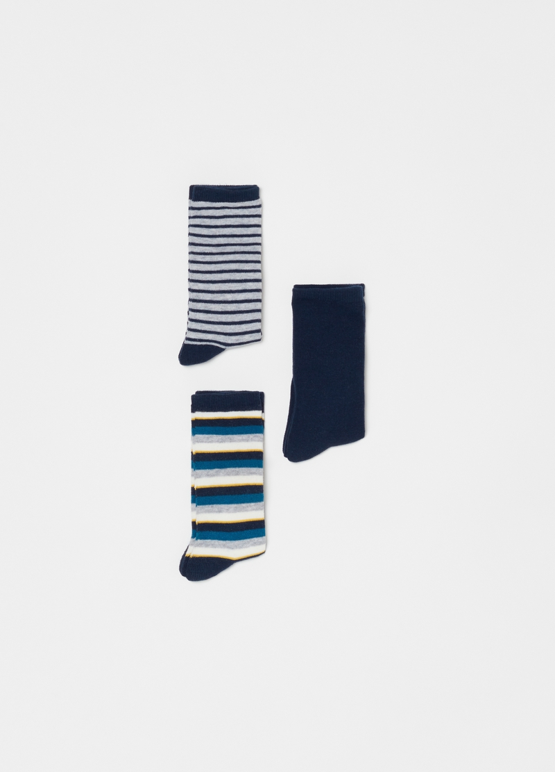 Three-pair pack long socks with stripes image number null