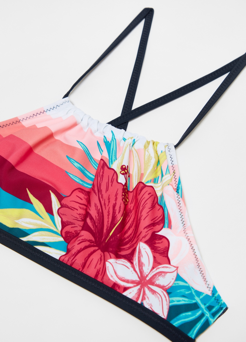Bikini with stripes and flowers pattern image number null