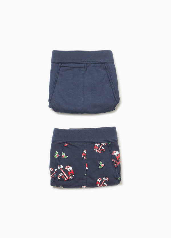 Two-pack cotton solid colour and patterned briefs