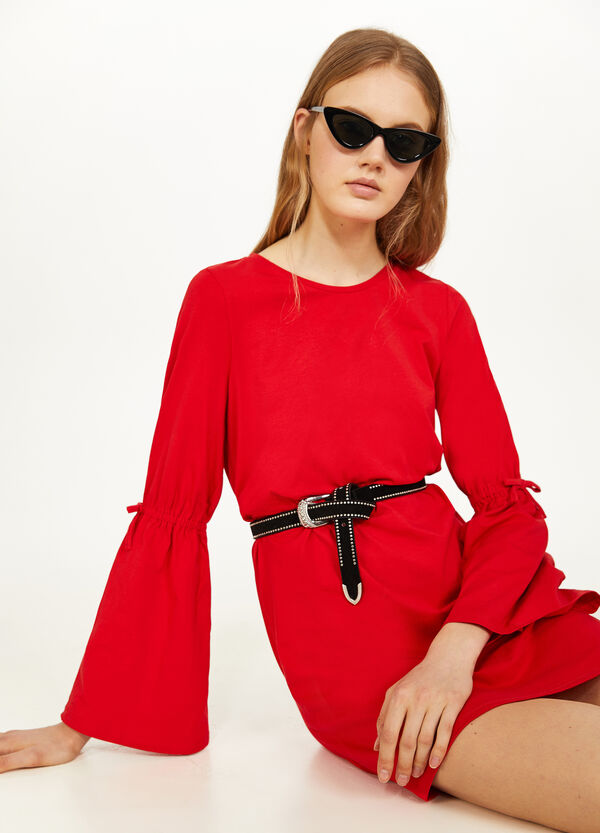 Stretch cotton dress with bell sleeves