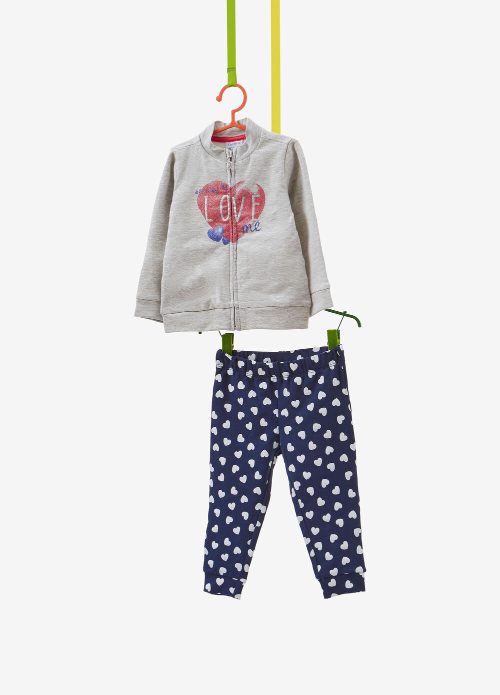 Stretch cotton tracksuit with heart print